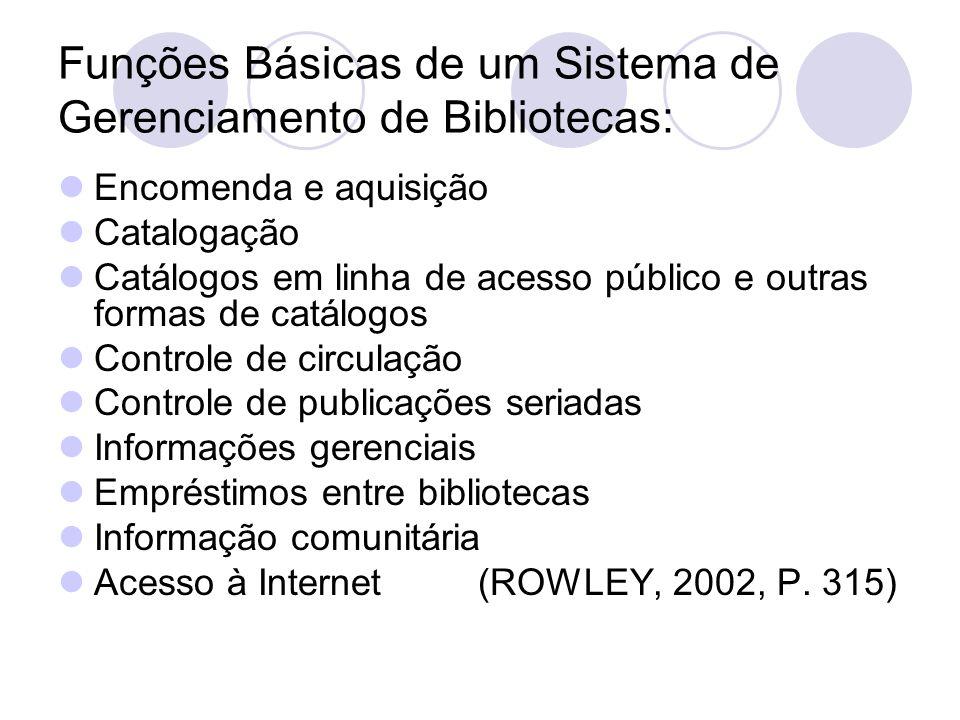 Funções Básicas de um Sistema de Gerenciamento de Bibliotecas: Encomenda e aquisição Catalogação Catálogos em linha de acesso público e outras formas