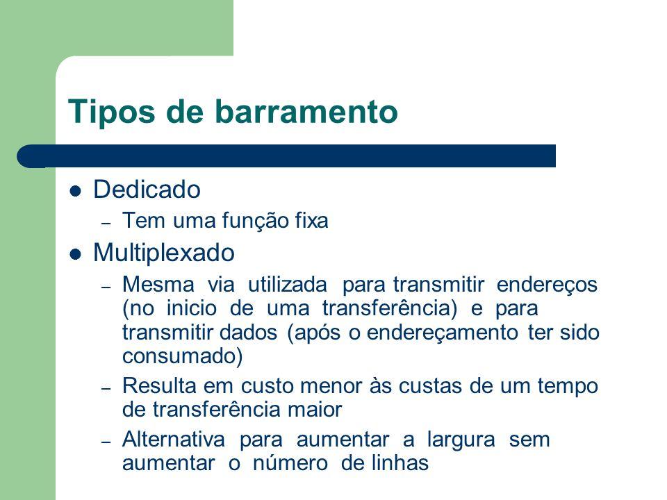Tipos de barramento Dedicado – Tem uma função fixa Multiplexado – Mesma via utilizada para transmitir endereços (no inicio de uma transferência) e par