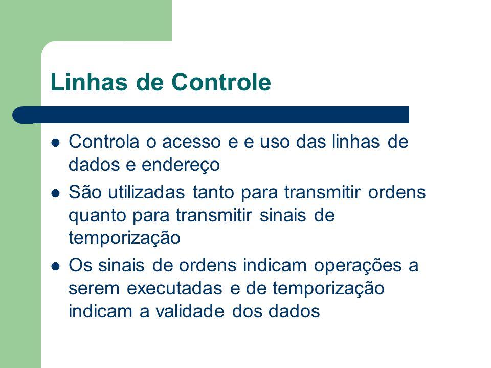Linhas de Controle As linhas de controlem em geral incluem: – Escrita e Leitura na Memória – Escrita e Leitura em Porta E/S – Confirmação de Transferência – Confirmação de Interrupção – Requisição e Concessão de Barramento – Relógio – Reset (inicialização)
