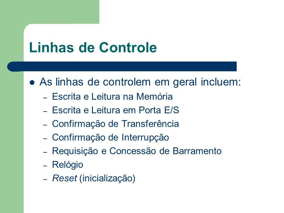 Linhas de Controle As linhas de controlem em geral incluem: – Escrita e Leitura na Memória – Escrita e Leitura em Porta E/S – Confirmação de Transferê