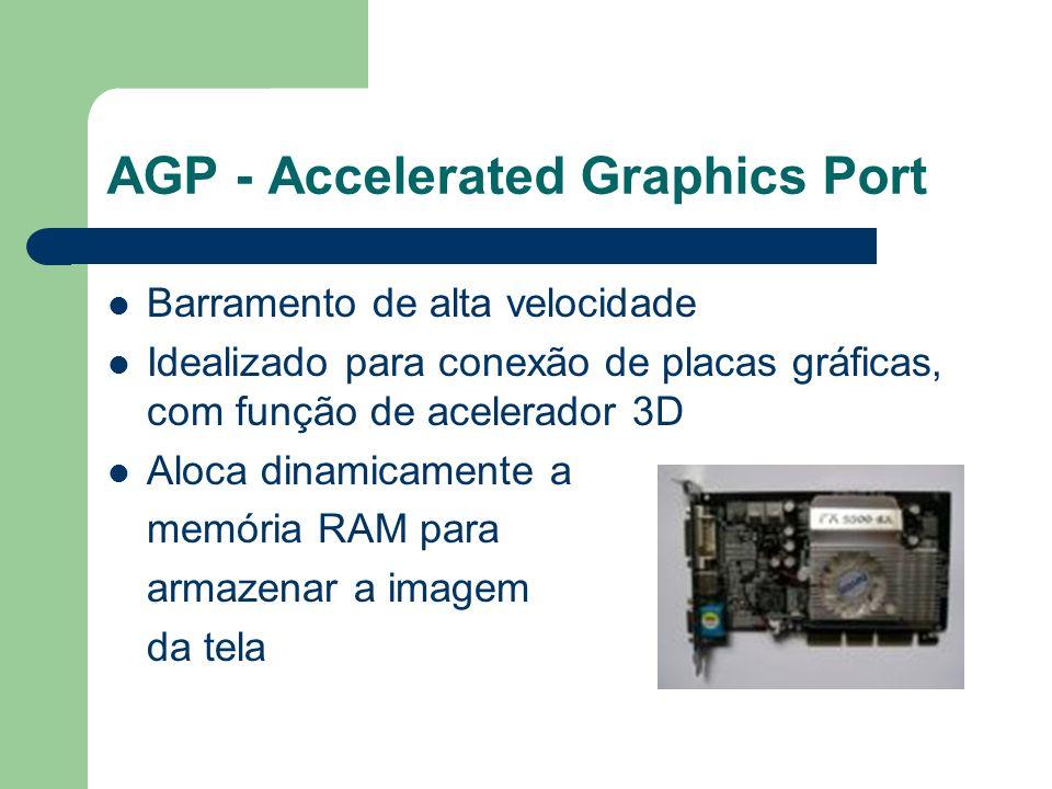 AGP - Accelerated Graphics Port Barramento de alta velocidade Idealizado para conexão de placas gráficas, com função de acelerador 3D Aloca dinamicame