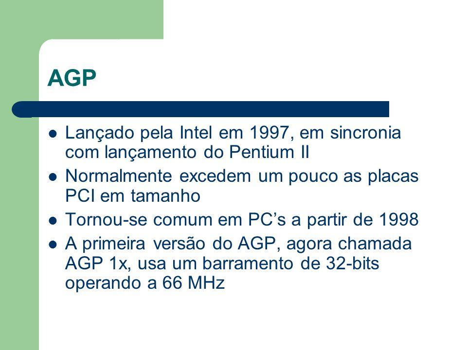 AGP Lançado pela Intel em 1997, em sincronia com lançamento do Pentium II Normalmente excedem um pouco as placas PCI em tamanho Tornou-se comum em PCs
