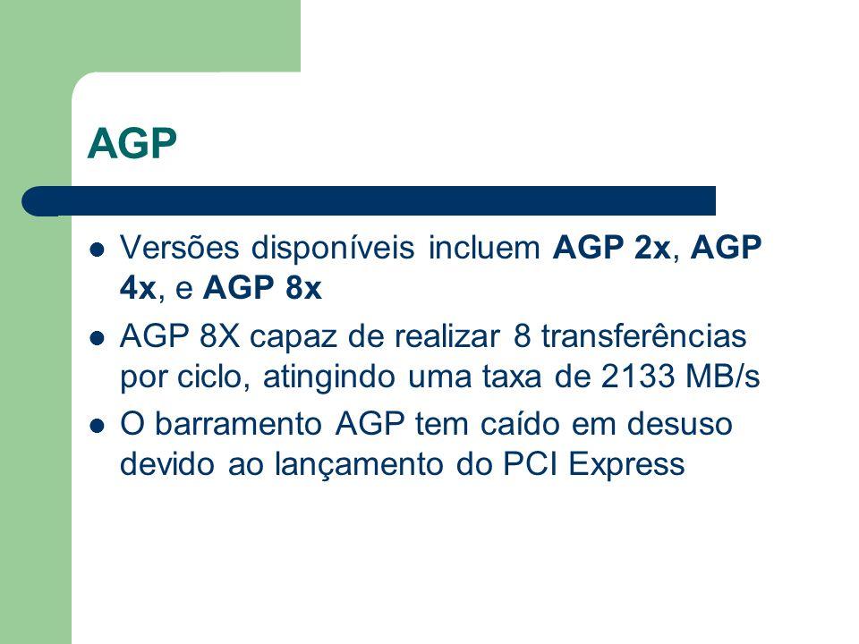 AGP Versões disponíveis incluem AGP 2x, AGP 4x, e AGP 8x AGP 8X capaz de realizar 8 transferências por ciclo, atingindo uma taxa de 2133 MB/s O barram