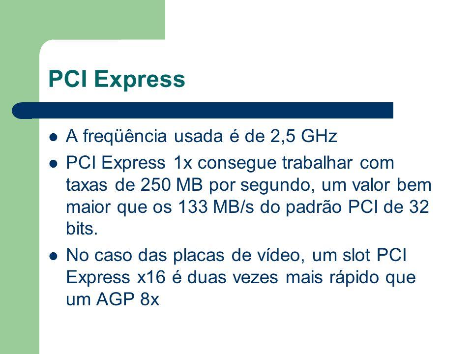 PCI Express A freqüência usada é de 2,5 GHz PCI Express 1x consegue trabalhar com taxas de 250 MB por segundo, um valor bem maior que os 133 MB/s do p
