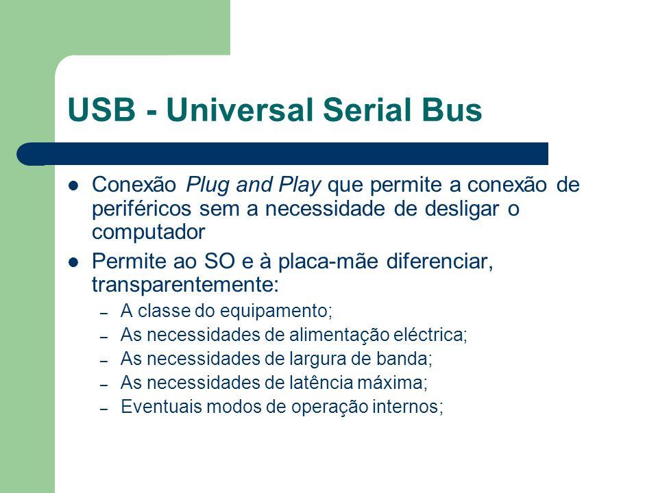 USB - Universal Serial Bus Conexão Plug and Play que permite a conexão de periféricos sem a necessidade de desligar o computador Permite ao SO e à pla