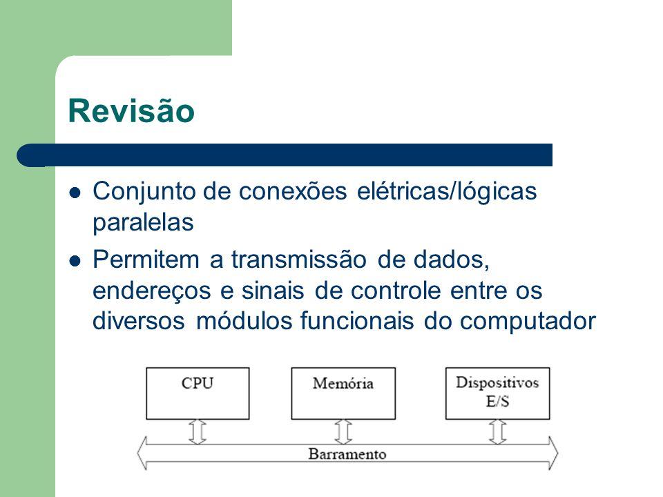 Revisão Consiste de vários caminhos e linhas de comunicação Esses caminhos são capazes de transmitir sinais que representam um único digito binário Um conjunto de linhas pode transmitir dados em paralelo – EX: uma unidade de barramento de 8 bits pode transmitir por 8 linhas