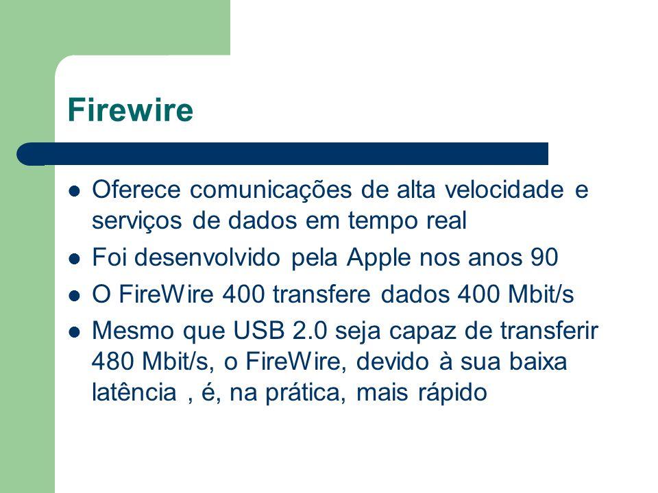 Firewire Oferece comunicações de alta velocidade e serviços de dados em tempo real Foi desenvolvido pela Apple nos anos 90 O FireWire 400 transfere da