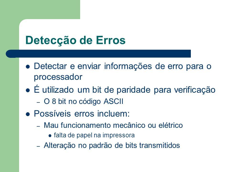 Detecção de Erros Detectar e enviar informações de erro para o processador É utilizado um bit de paridade para verificação – O 8 bit no código ASCII P