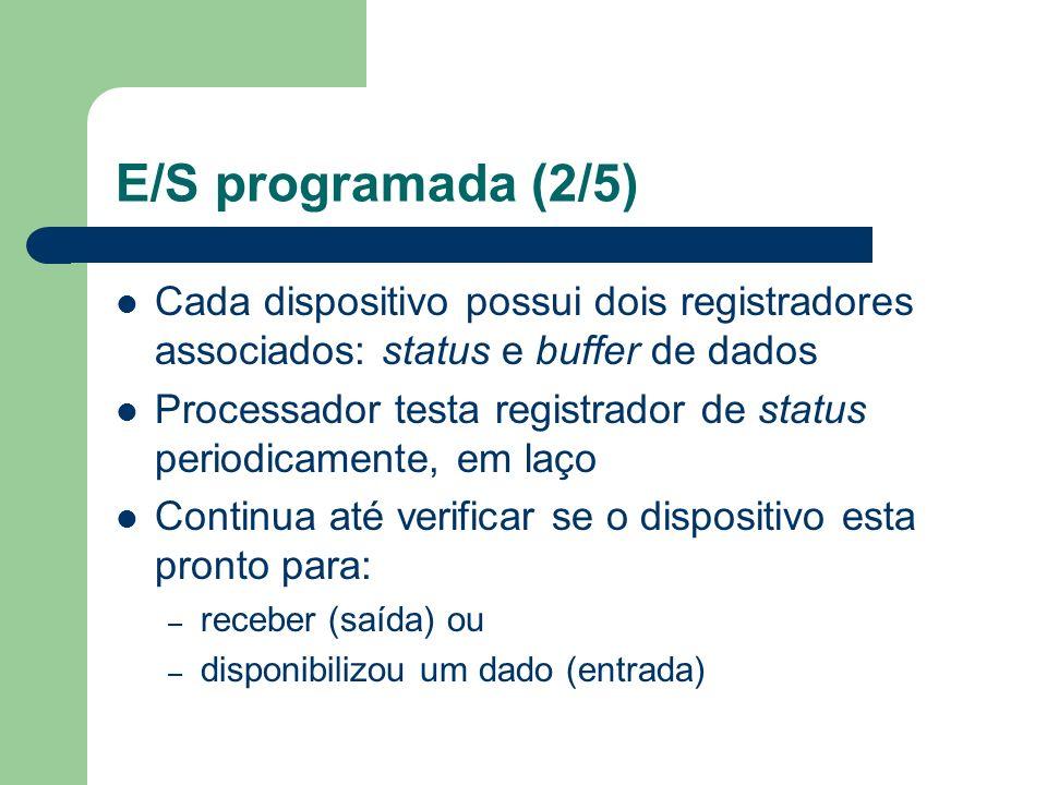 E/S programada (2/5) Cada dispositivo possui dois registradores associados: status e buffer de dados Processador testa registrador de status periodica