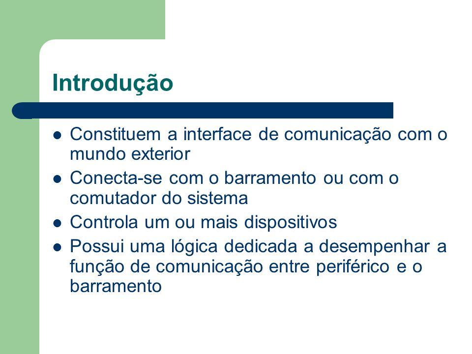 Constituem a interface de comunicação com o mundo exterior Conecta-se com o barramento ou com o comutador do sistema Controla um ou mais dispositivos