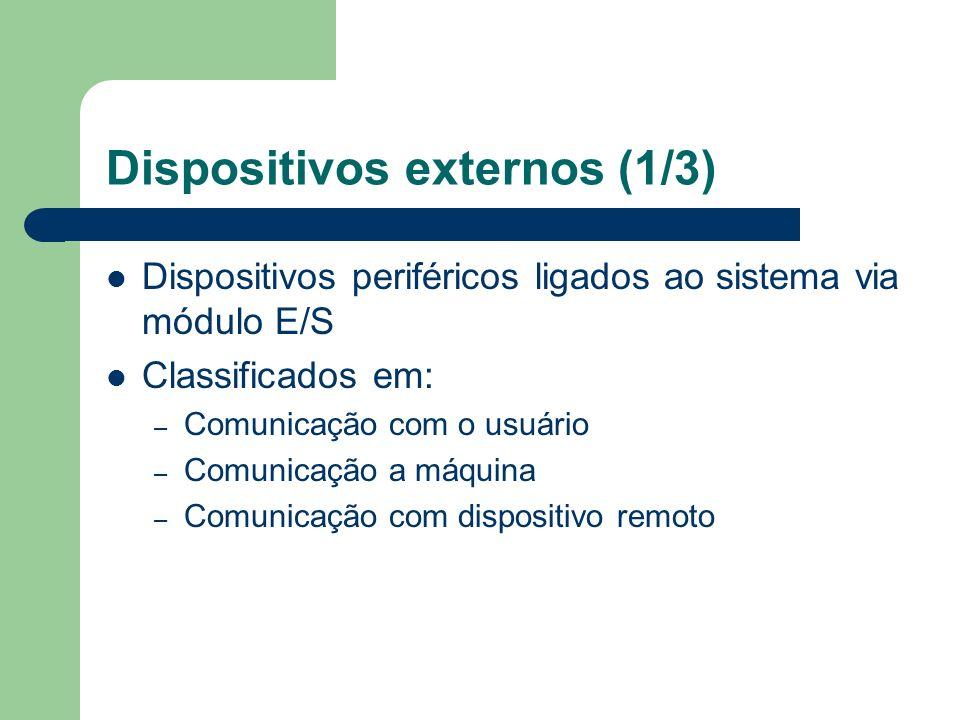 Dispositivos externos (1/3) Dispositivos periféricos ligados ao sistema via módulo E/S Classificados em: – Comunicação com o usuário – Comunicação a m