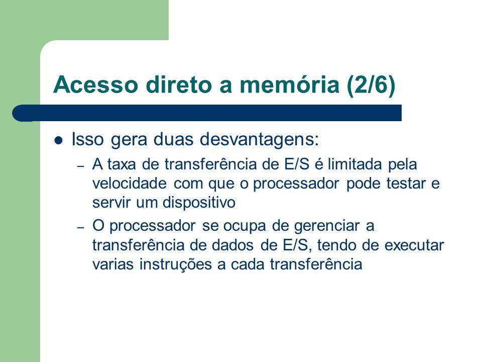 Acesso direto a memória (2/6) Isso gera duas desvantagens: – A taxa de transferência de E/S é limitada pela velocidade com que o processador pode test