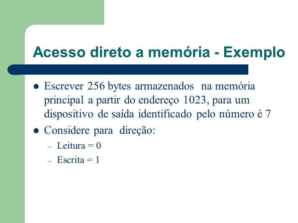 Acesso direto a memória - Exemplo Escrever 256 bytes armazenados na memória principal a partir do endereço 1023, para um dispositivo de saída identifi