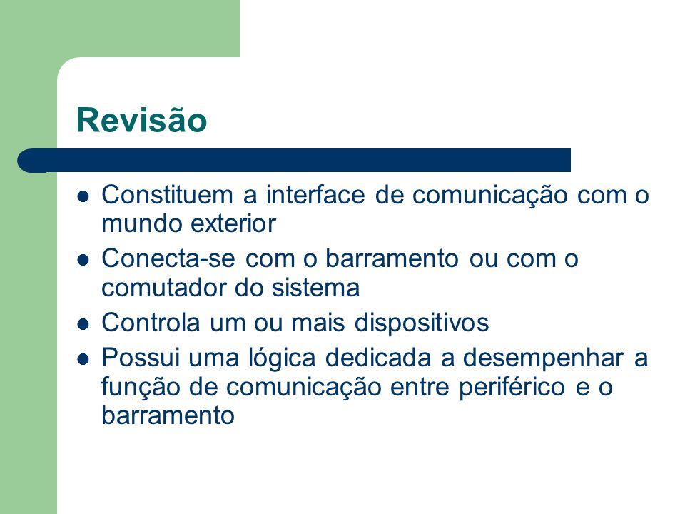 Revisão Constituem a interface de comunicação com o mundo exterior Conecta-se com o barramento ou com o comutador do sistema Controla um ou mais dispo