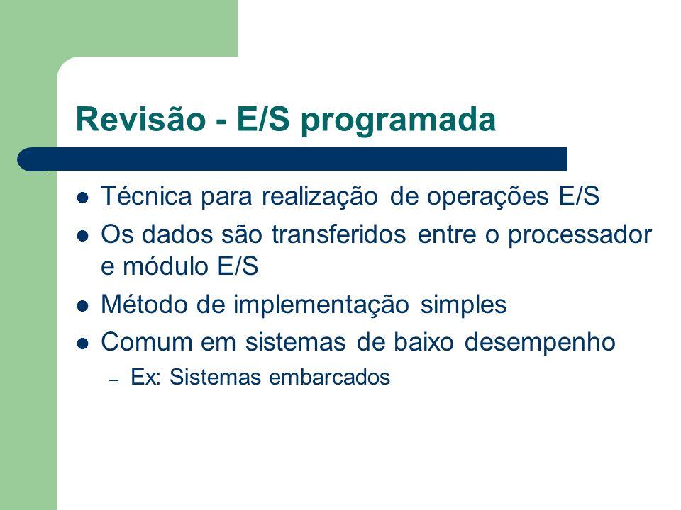 Revisão - E/S programada Cada dispositivo possui dois registradores associados: status e buffer de dados Processador testa registrador de status periodicamente, em laço Continua até verificar se o dispositivo esta pronto para: – receber (saída) ou – disponibilizou um dado (entrada)