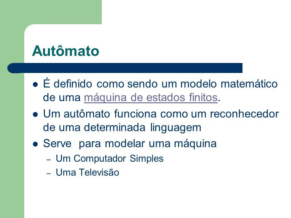 Autômato É definido como sendo um modelo matemático de uma máquina de estados finitos.máquina de estados finitos Um autômato funciona como um reconhec