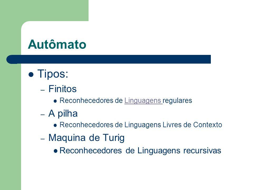 Autômato Tipos: – Finitos Reconhecedores de Linguagens regularesLinguagens – A pilha Reconhecedores de Linguagens Livres de Contexto – Maquina de Turi