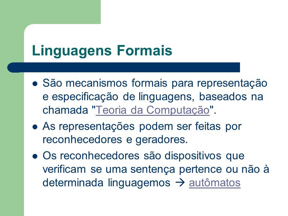 Linguagens Formais São mecanismos formais para representação e especificação de linguagens, baseados na chamada