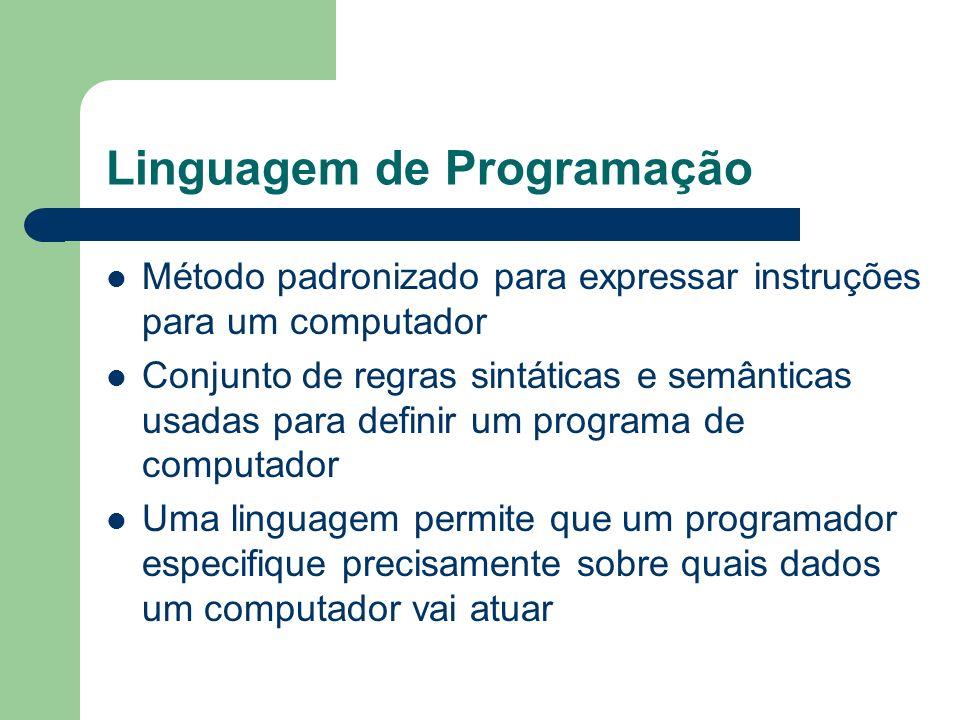 Linguagem de Programação Método padronizado para expressar instruções para um computador Conjunto de regras sintáticas e semânticas usadas para defini