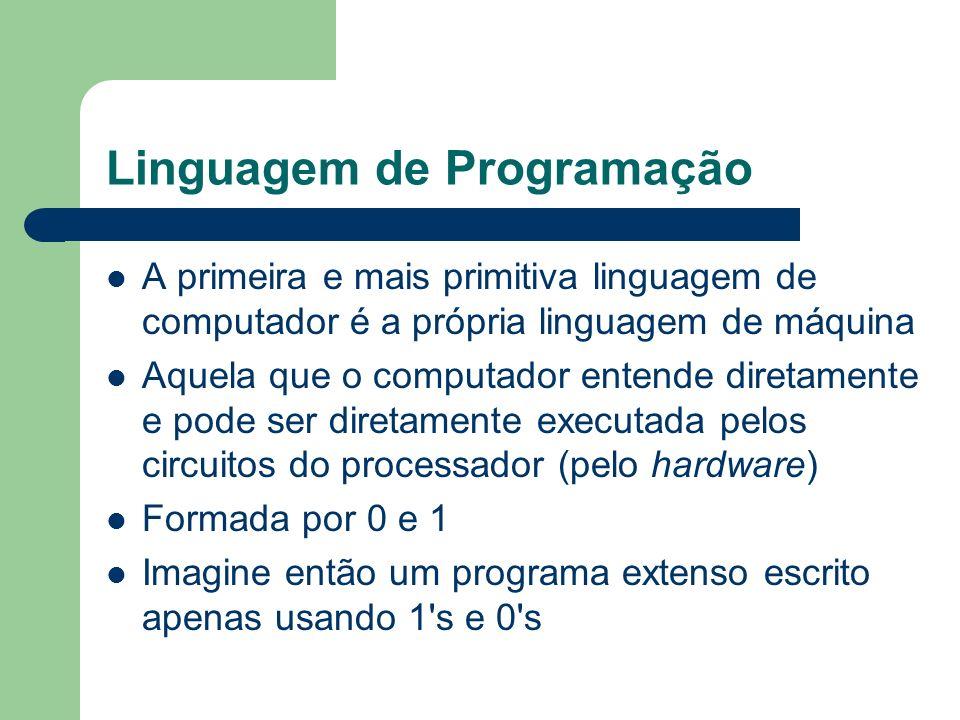 Linguagem de Programação A primeira e mais primitiva linguagem de computador é a própria linguagem de máquina Aquela que o computador entende diretame