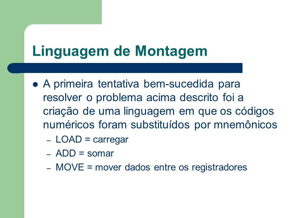 Linguagem de Montagem A primeira tentativa bem-sucedida para resolver o problema acima descrito foi a criação de uma linguagem em que os códigos numér