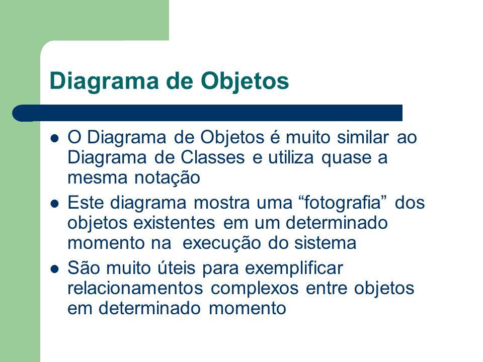 Diagrama de Objetos O Diagrama de Objetos é muito similar ao Diagrama de Classes e utiliza quase a mesma notação Este diagrama mostra uma fotografia d
