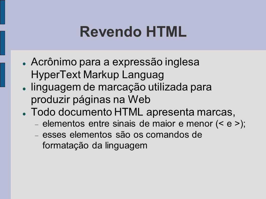Revendo HTML Principais marcas Define o documento html Define o cabeçalho do documento Delimita informações como titulo e estilo da página Define o corpo O corpo representa o conteúdo da página em si