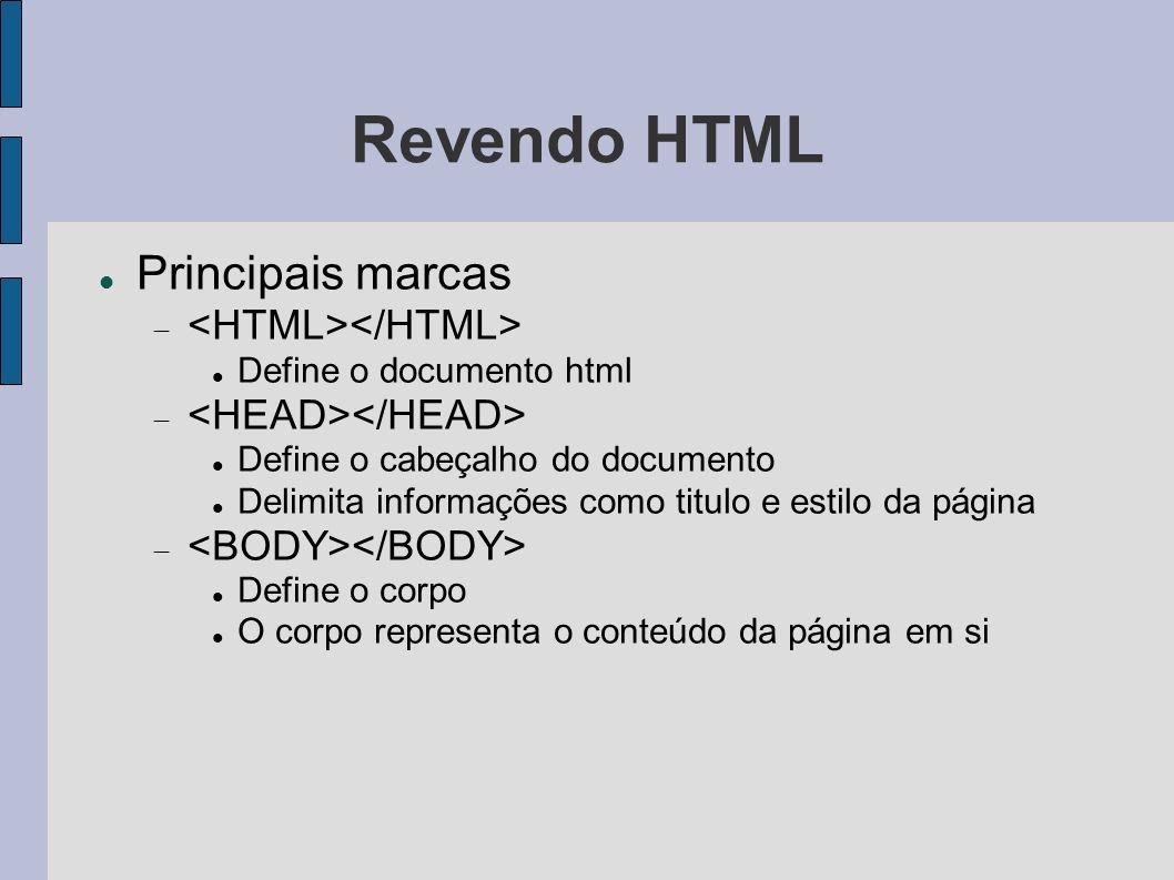 Revendo HTML Principais marcas Define o documento html Define o cabeçalho do documento Delimita informações como titulo e estilo da página Define o co