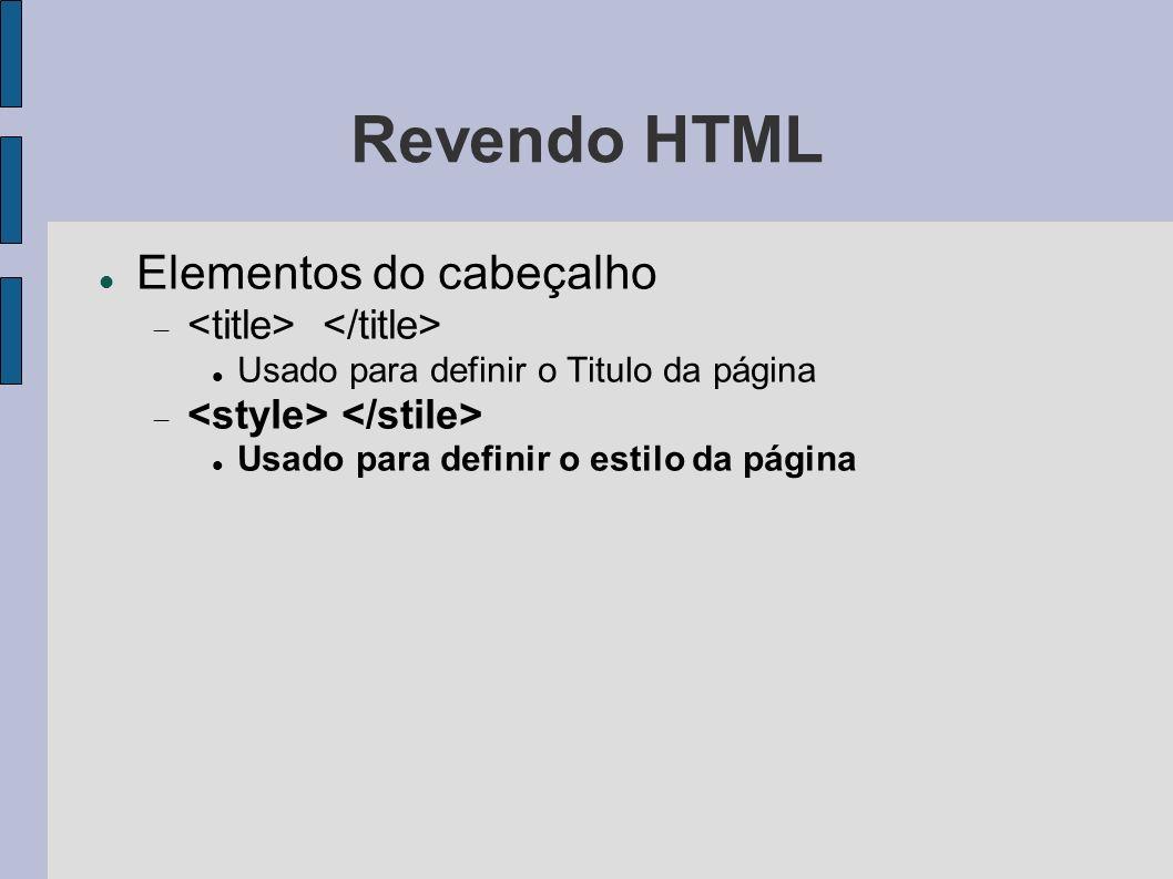 Revendo HTML Elementos do cabeçalho Usado para definir o Titulo da página Usado para definir o estilo da página