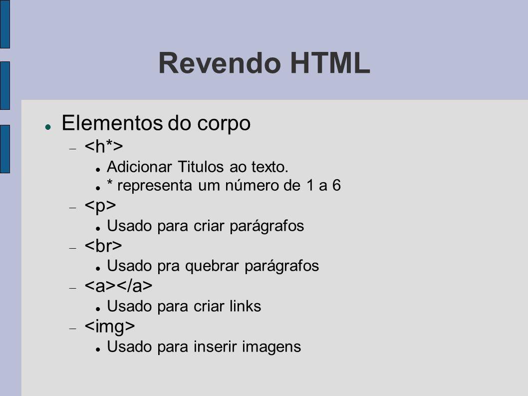 Revendo HTML Elementos do corpo Adicionar Titulos ao texto. * representa um número de 1 a 6 Usado para criar parágrafos Usado pra quebrar parágrafos U