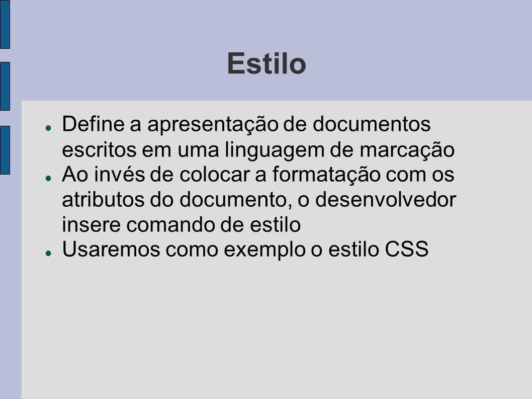 Estilo Define a apresentação de documentos escritos em uma linguagem de marcação Ao invés de colocar a formatação com os atributos do documento, o des