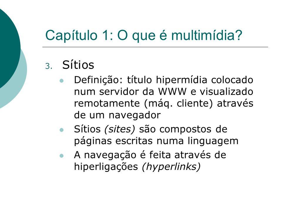 Capítulo 1: O que é multimídia? 3. Sítios Definição: título hipermídia colocado num servidor da WWW e visualizado remotamente (máq. cliente) através d