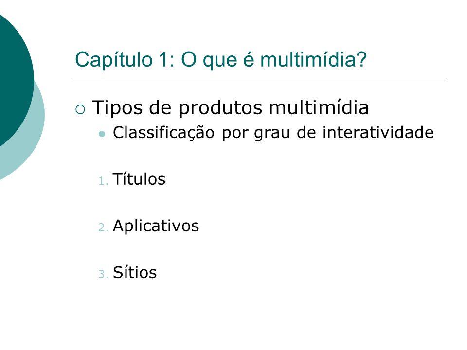 Capítulo 1: O que é multimídia? Tipos de produtos multimídia Classificação por grau de interatividade 1. Títulos 2. Aplicativos 3. Sítios
