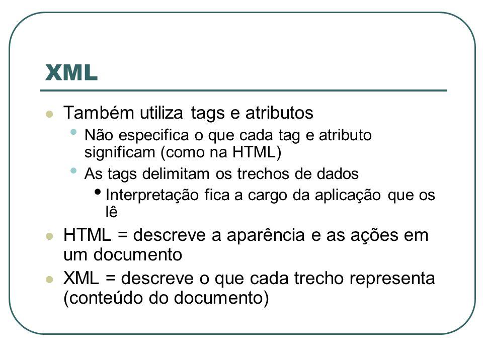 XML Também utiliza tags e atributos Não especifica o que cada tag e atributo significam (como na HTML) As tags delimitam os trechos de dados Interpret