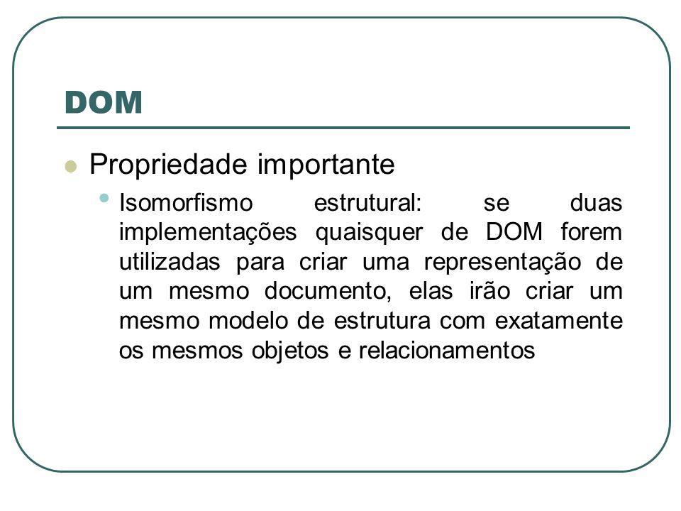 DOM Propriedade importante Isomorfismo estrutural: se duas implementações quaisquer de DOM forem utilizadas para criar uma representação de um mesmo d