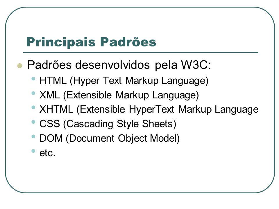 Principais Padrões Padrões desenvolvidos pela W3C: HTML (Hyper Text Markup Language) XML (Extensible Markup Language) XHTML (Extensible HyperText Mark