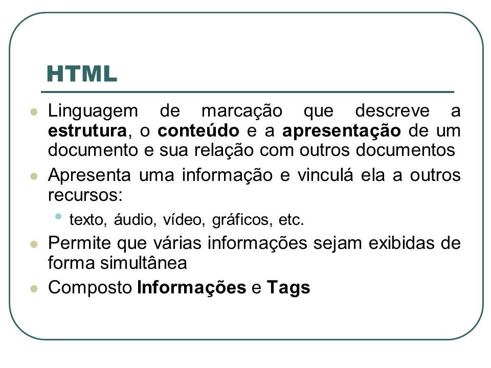 HTML Linguagem de marcação que descreve a estrutura, o conteúdo e a apresentação de um documento e sua relação com outros documentos Apresenta uma inf