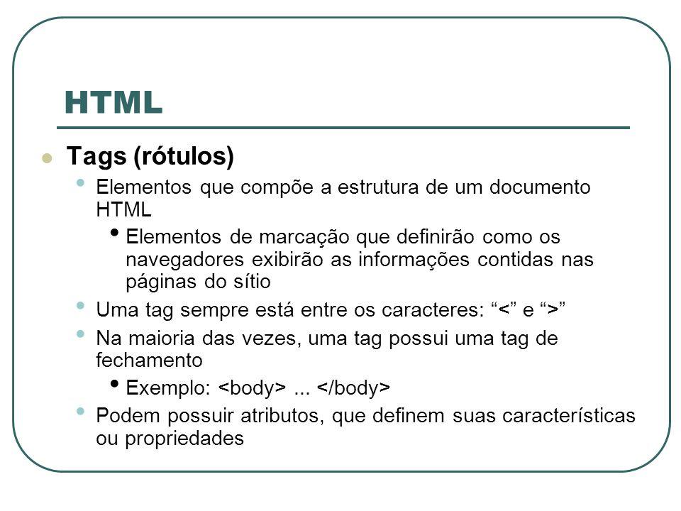 HTML Tags (rótulos) Elementos que compõe a estrutura de um documento HTML Elementos de marcação que definirão como os navegadores exibirão as informaç