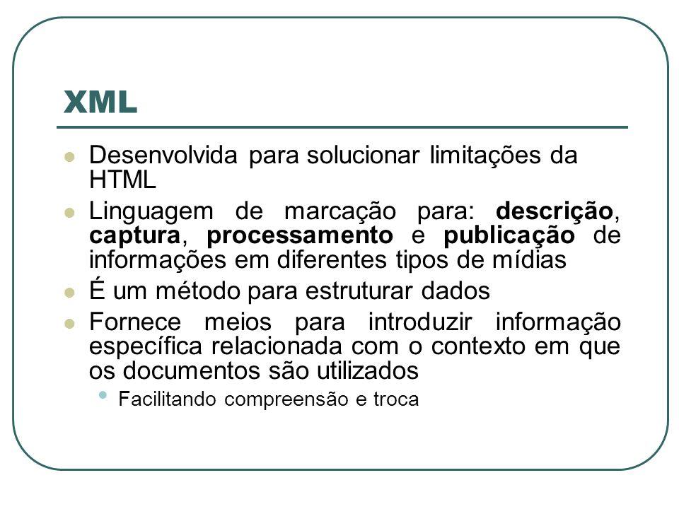 XML Também utiliza tags e atributos Não especifica o que cada tag e atributo significam (como na HTML) As tags delimitam os trechos de dados Interpretação fica a cargo da aplicação que os lê HTML = descreve a aparência e as ações em um documento XML = descreve o que cada trecho representa (conteúdo do documento)