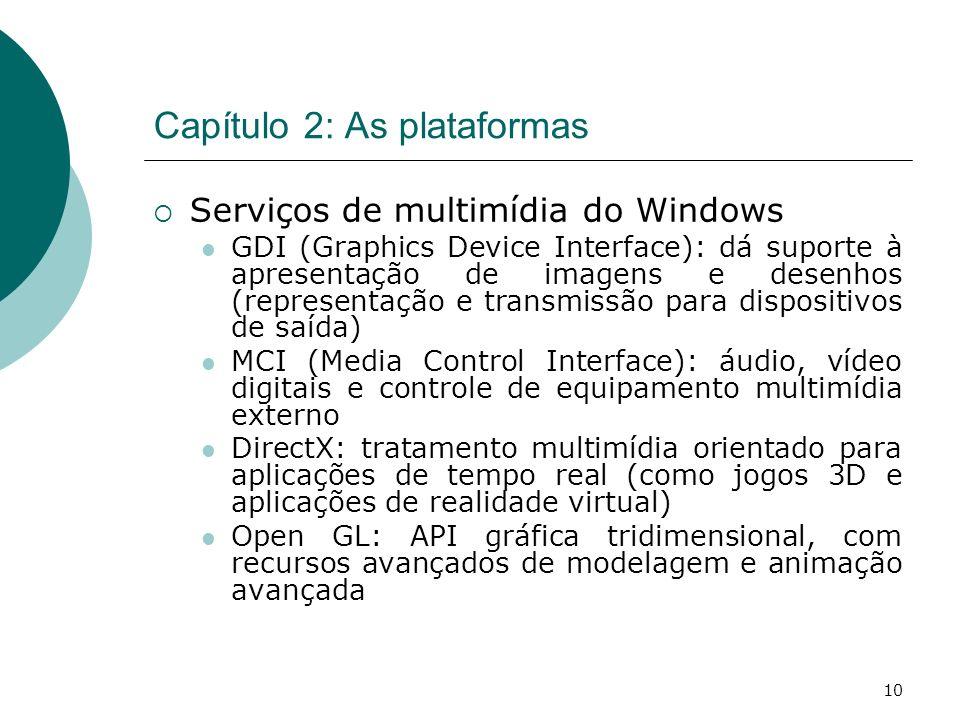 10 Capítulo 2: As plataformas Serviços de multimídia do Windows GDI (Graphics Device Interface): dá suporte à apresentação de imagens e desenhos (representação e transmissão para dispositivos de saída) MCI (Media Control Interface): áudio, vídeo digitais e controle de equipamento multimídia externo DirectX: tratamento multimídia orientado para aplicações de tempo real (como jogos 3D e aplicações de realidade virtual) Open GL: API gráfica tridimensional, com recursos avançados de modelagem e animação avançada