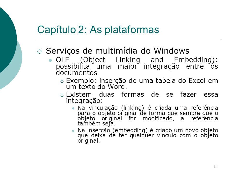 11 Capítulo 2: As plataformas Serviços de multimídia do Windows OLE (Object Linking and Embedding): possibilita uma maior integração entre os documentos Exemplo: inserção de uma tabela do Excel em um texto do Word.