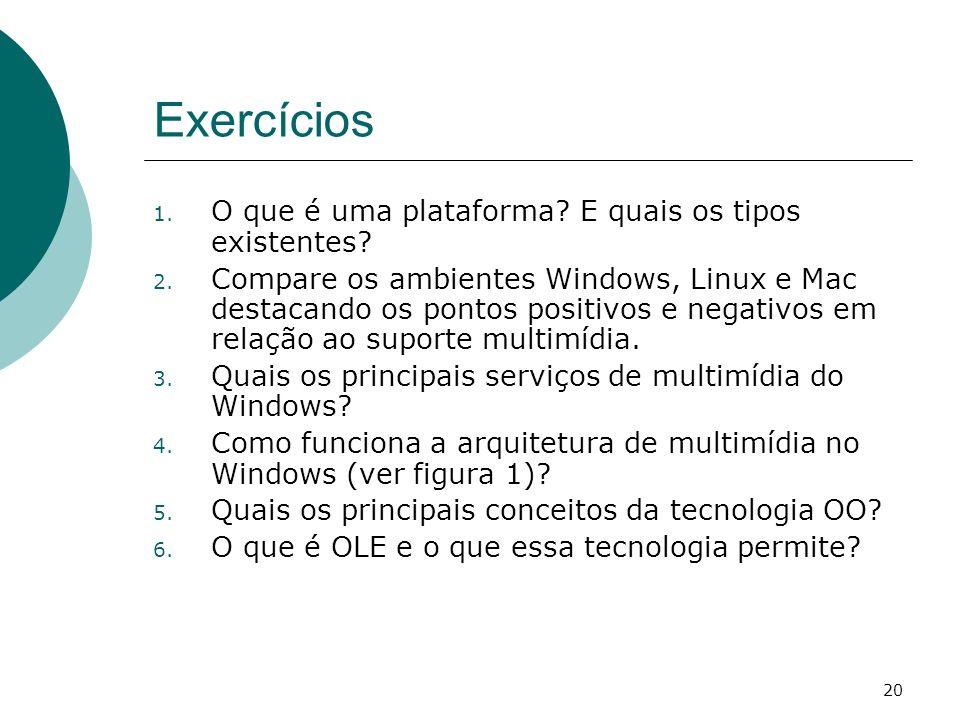 20 Exercícios 1.O que é uma plataforma. E quais os tipos existentes.
