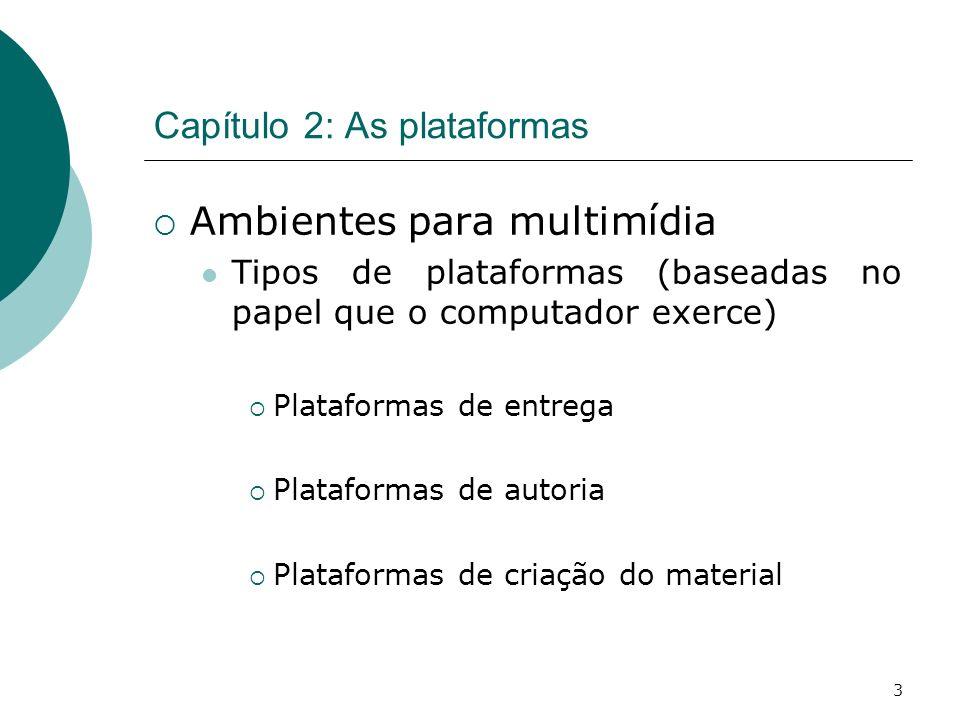 3 Capítulo 2: As plataformas Ambientes para multimídia Tipos de plataformas (baseadas no papel que o computador exerce) Plataformas de entrega Plataformas de autoria Plataformas de criação do material