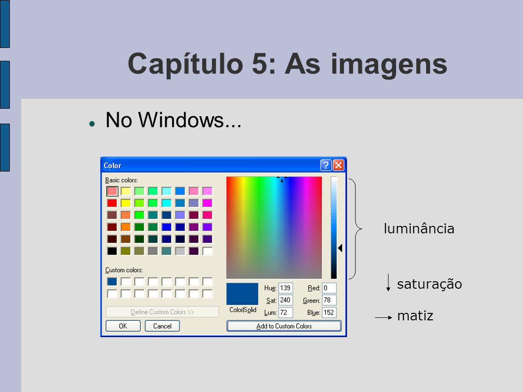 Capítulo 5: As imagens No Windows... luminância saturação matiz