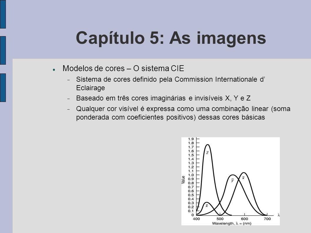Capítulo 5: As imagens Modelos de cores – O sistema CIE Sistema de cores definido pela Commission Internationale d Eclairage Baseado em três cores ima