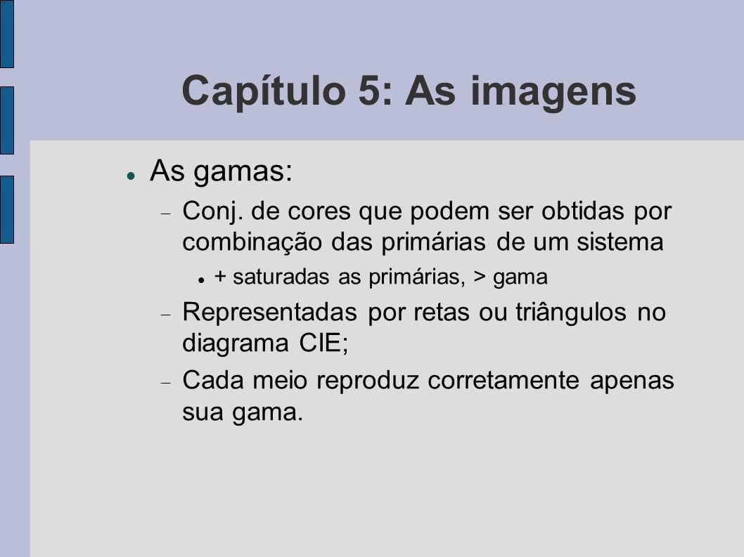 Capítulo 5: As imagens As gamas: Conj. de cores que podem ser obtidas por combinação das primárias de um sistema + saturadas as primárias, > gama Repr