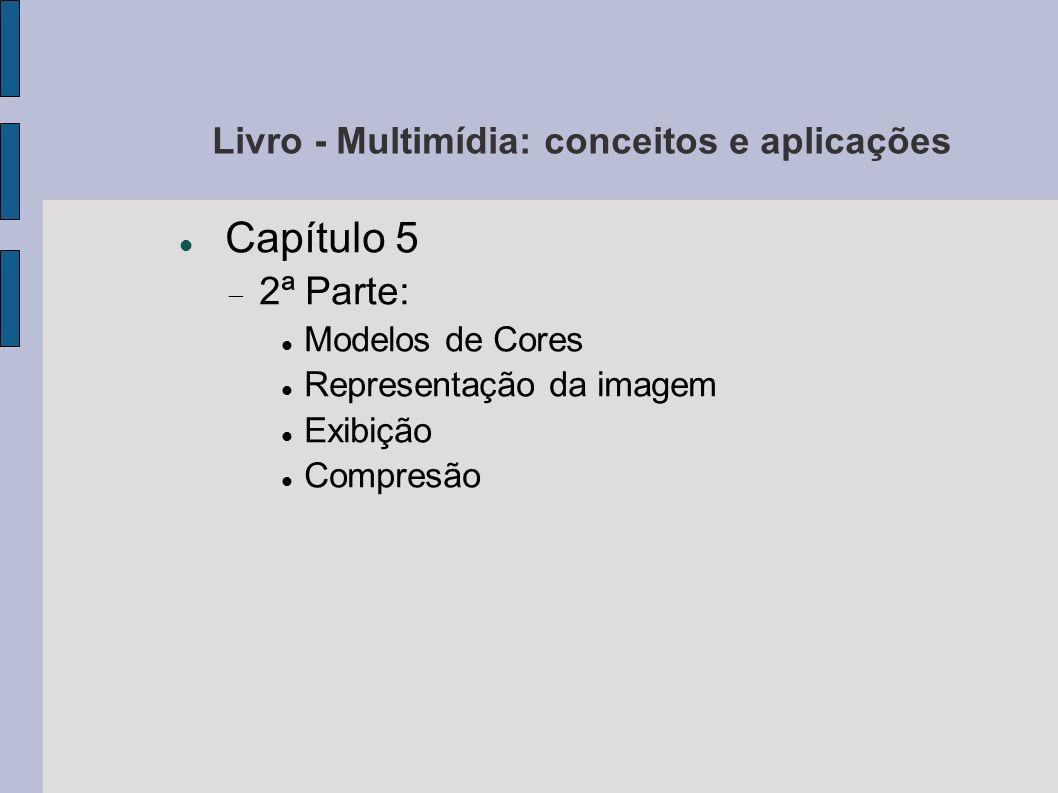Capítulo 5: As imagens Adaptadores gráficos Interface entre um sistema de computação e um monitor Memória de imagem (frame buffer): armazenar pixels de cada imagem exibida Circuitos de refrescamento (varredura da memória para gerar os sinais destinados ao monitor) Tipos de varredura: progressiva - linhas são lidas em ordem crescente, como na maioria dos monitores; entrelaçada - o quadro é dividido em dois campos (linhas pares e linhas ímpares), como na TV Comunicação entre o Adp.
