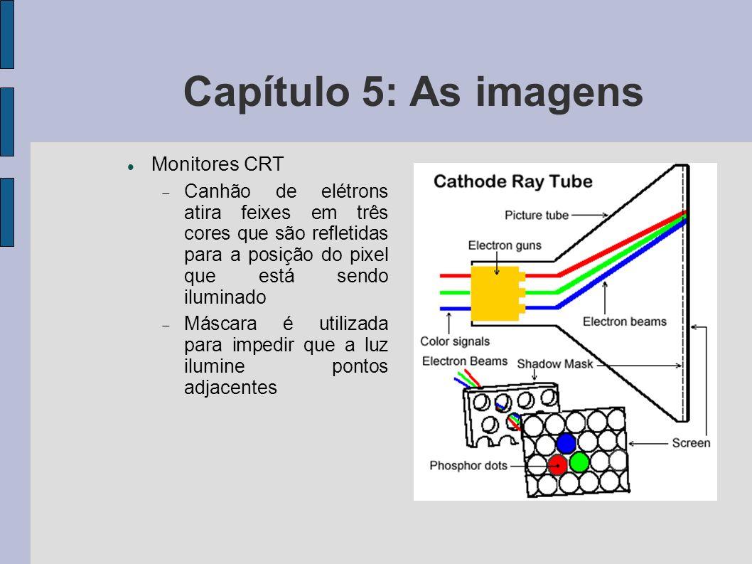 Capítulo 5: As imagens Monitores CRT Canhão de elétrons atira feixes em três cores que são refletidas para a posição do pixel que está sendo iluminado