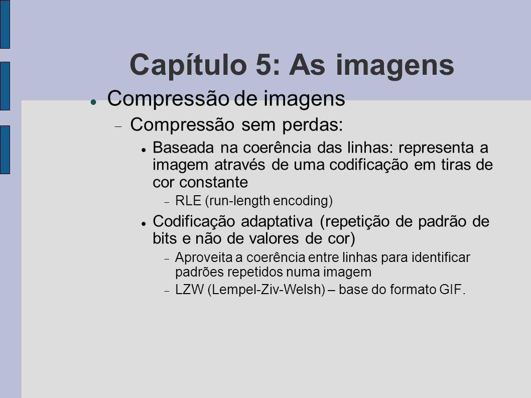 Capítulo 5: As imagens Compressão de imagens Compressão sem perdas: Baseada na coerência das linhas: representa a imagem através de uma codificação em