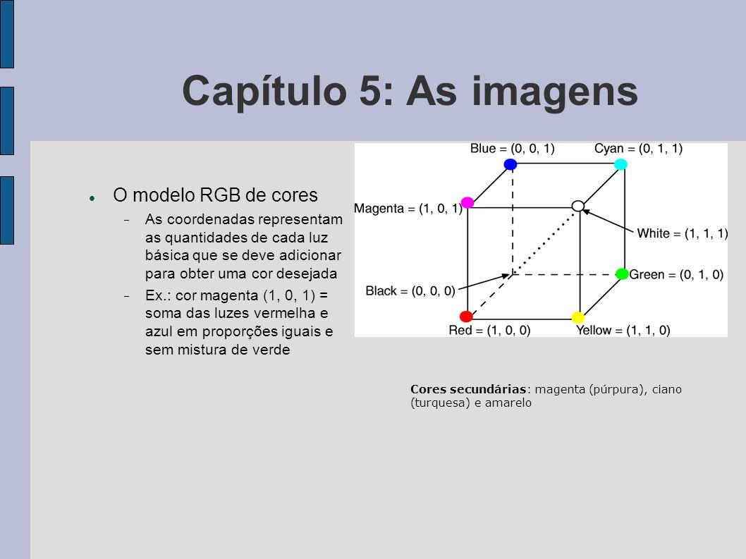 Capítulo 5: As imagens Dispositivos de entrada gráfica Teclado Mouse Mesa digitalizadora Joystick Scanners Dispositivos tridimensionais (luvas, capacetes e trajes sensores)